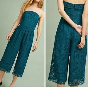 Anthropologie Lace Turquoise Jumpsuit